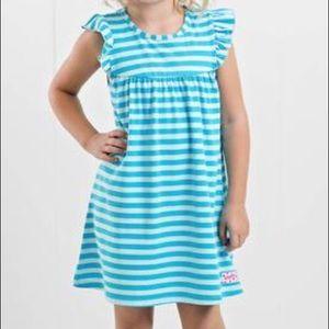 Ruffle Girl Dresses - Ruffle Girl Robin's Egg Blue Stripe Pearl Dress